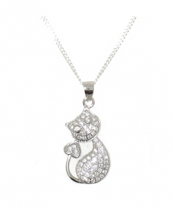 925 STERLING SILVER CAT PENDANT.