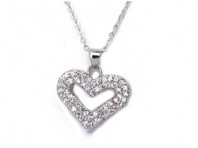 HEAVILY SET CZ HEART PENDANT