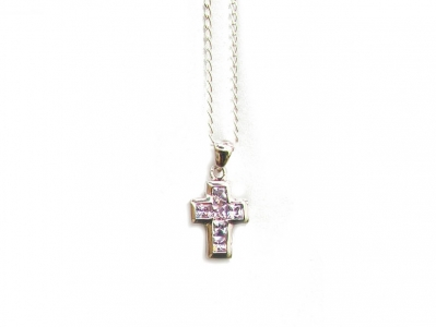 925 CZ CROSS PENDANT AND CHAIN.